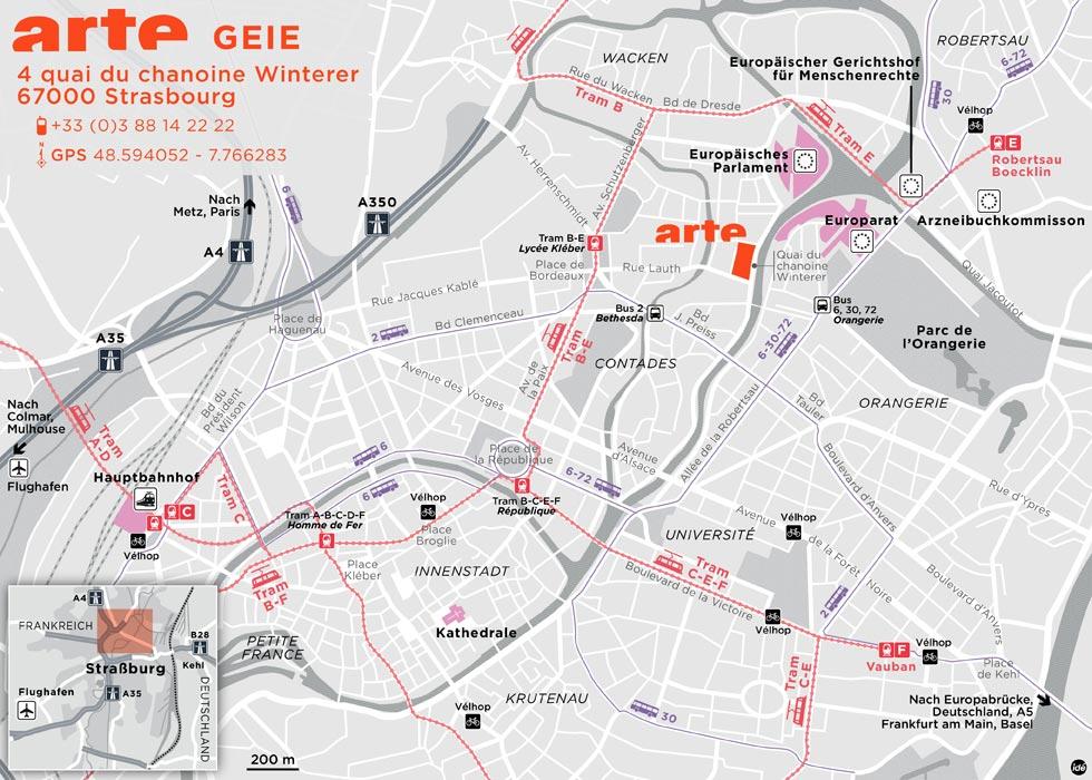 Der Weg zu ARTE GEIE (Straßburg)