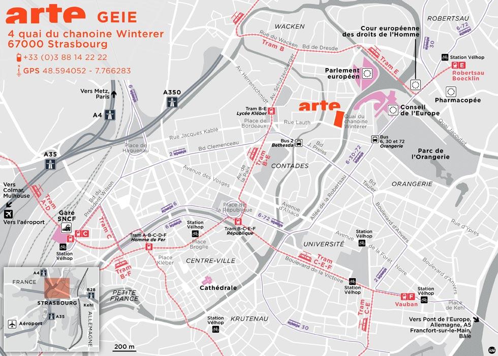 Plan d'accès au siège d'ARTE GEIE