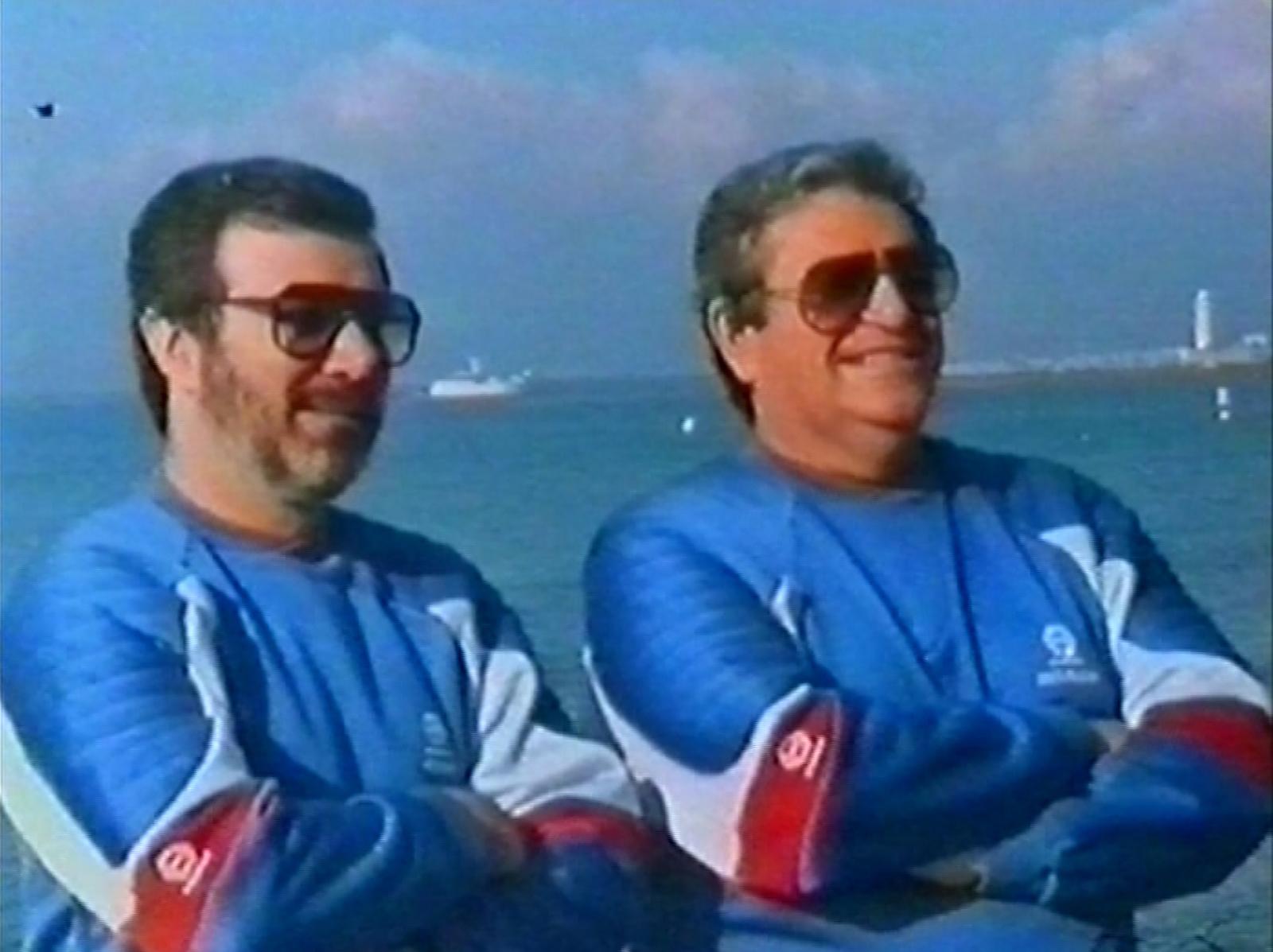 """Yoram Globus et Menahem Golan dans les années 80 au Festival de Cannes, surnommé à cette époque le """"Cannon Film Festival"""""""