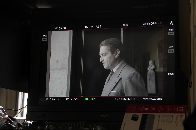 Sur l'écran moniteur, Louis-Do de Lencquesaing dans le rôle de Jaujart