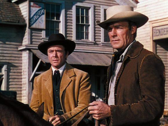 Dean Jagger et Randolph Scott dans Les Pionniers de la Western Union de Fritz Lang
