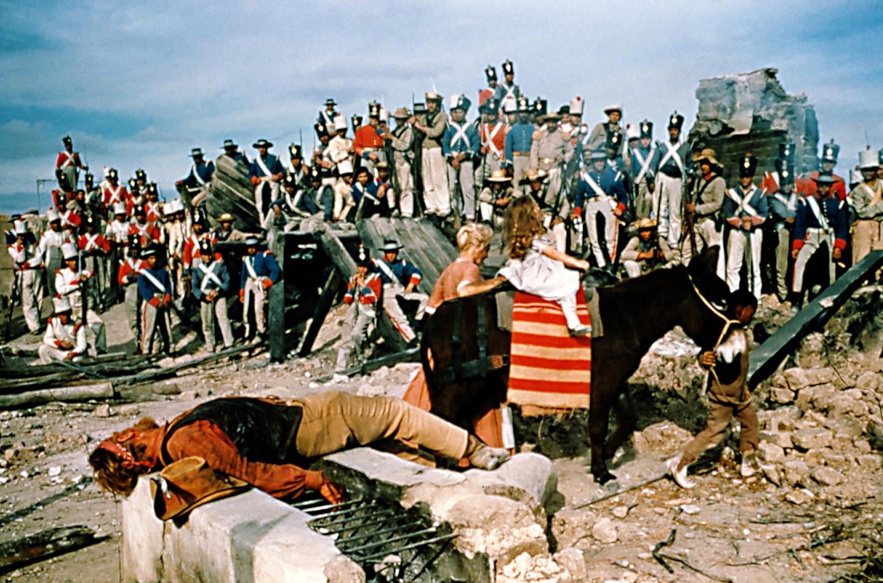 Zur arte-Sendung am 01. Januar 2000 um 20.50 Uhr Alamo 5: v.l.n.r. Richard Widmark (Jim Bowie), John Wayne (Davy Crockett) und Laurence Harvey (Colonel William Travis) Fotos: ARTE FRANCE