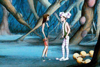 """Zur ARTE-Sendung Animationsfilme Der wilde Planet 2035340: Eine wilde Om (li.) rettet den Hausmenschen Terr (re.) vor seiner Besitzerin. Durch einen Zufall ist Terr in den Besitz eines Lernkopfhörers gekommen, mit dem er auf das Wissen der Draags zurückgreifen kann.. © 1976 Les Films Armorial/Argos Films Foto: ARTE France Honorarfreie Verwendung nur im Zusammenhang mit genannter Sendung und bei folgender Nennung """"Bild: Sendeanstalt/Copyright"""". Andere Verwendungen nur nach vorheriger Absprache: ARTE-Bildredaktion, Silke Wölk Tel.: +33 3 881 422 25, E-Mail: bildredaktion@arte.tv"""