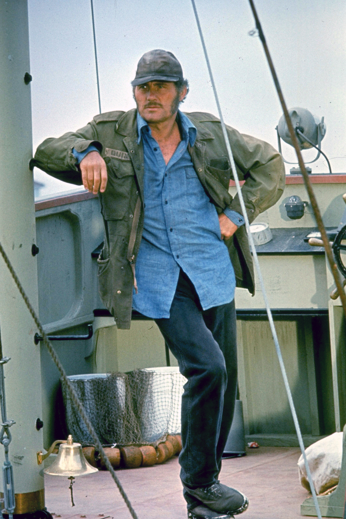 Robert Shaw dans Les Dents de la mer de Steven Speilberg