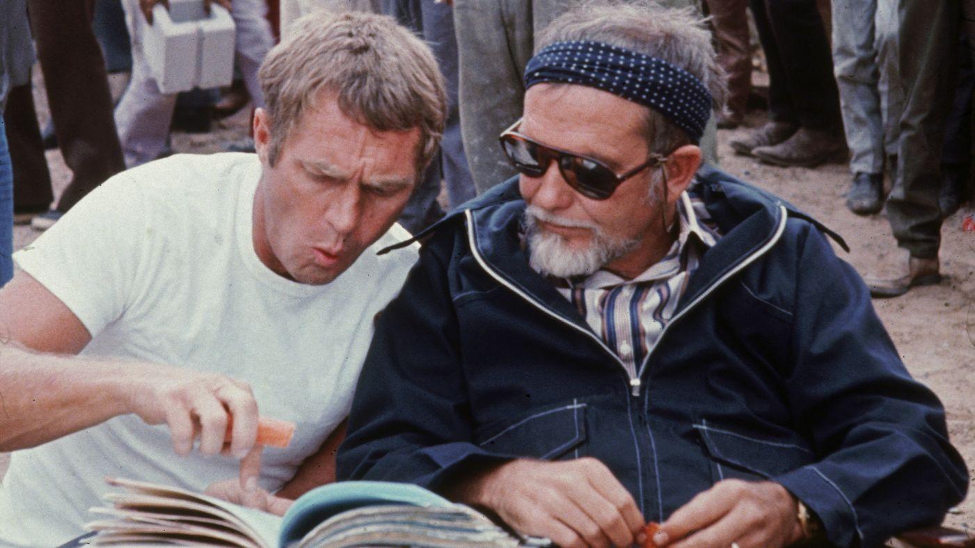 Steve McQueen et Sam Peckinpah sur le tournage de Guet-apens