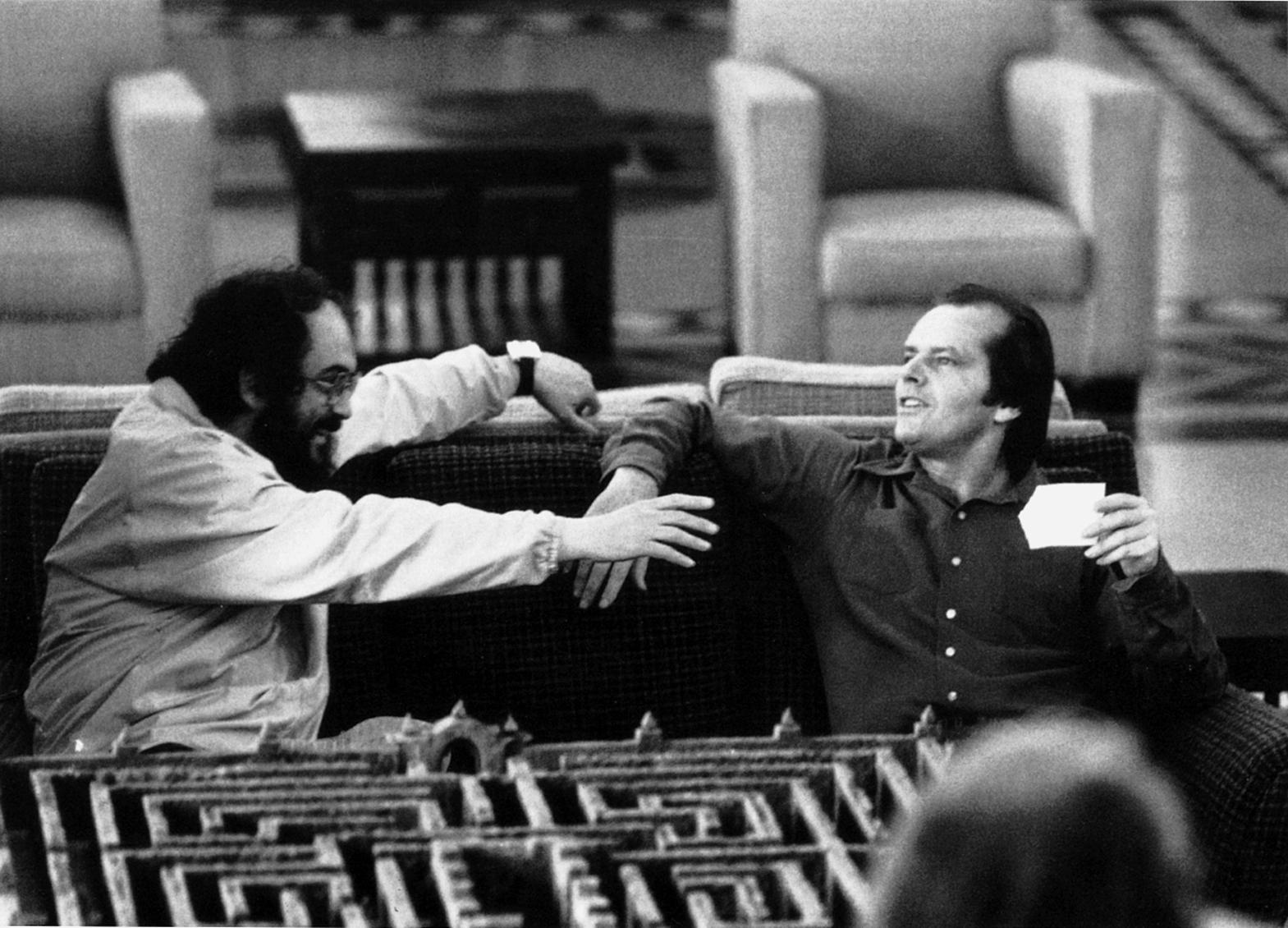 Stanley Kubrick et Jack Nicholson sur le tournage de Shining (GB/USA 1980).