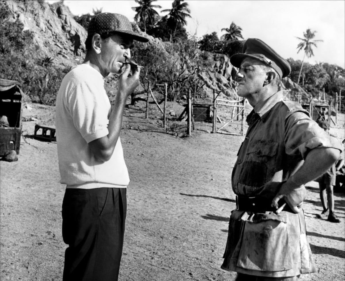 David Lean et Alec Guinness sur le tournage du Pont de la rivière Kwai