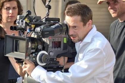 Mathieu Amalric sur le tournage de La Chambre bleue