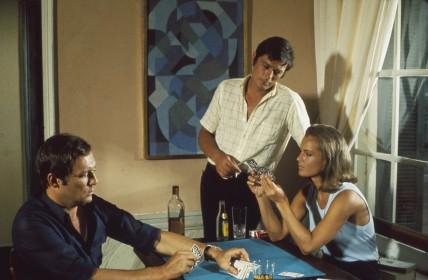 Maurice Ronet, Alain Delon et Romy Schneider dans La Piscine